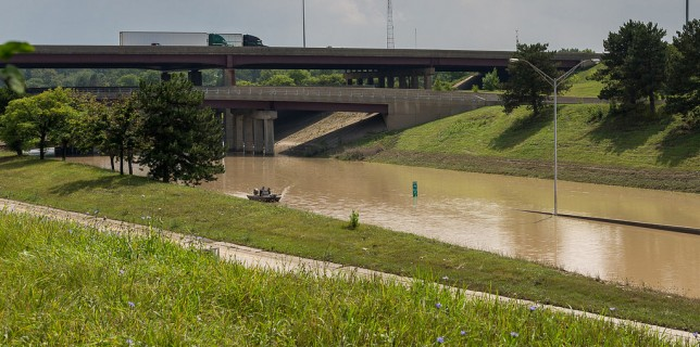 Flooded I-75 / I-696 interchange in Royal Oak Michigan near Detroit. Photo credit: Bgilbow via Flickr.