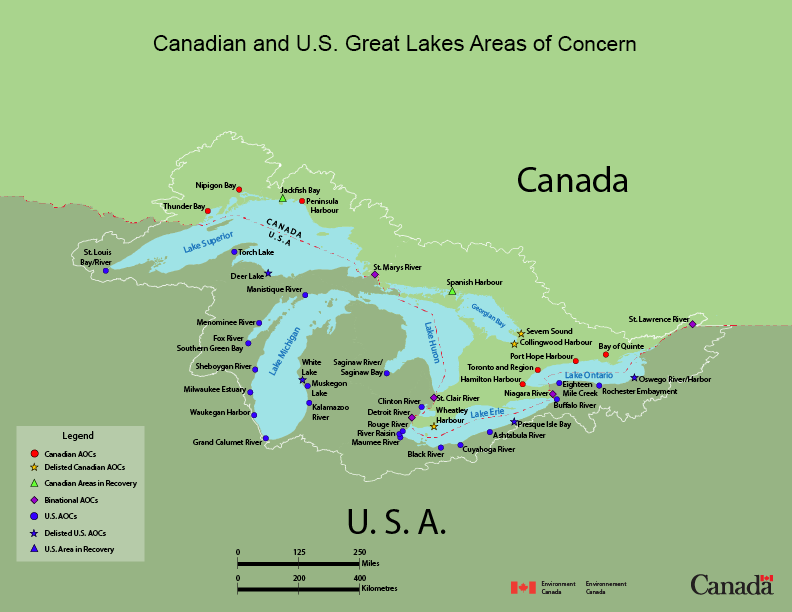 Map of Canadian and U.S. Areas of Concern in the Great Lakes-St. Lawrence River Basin